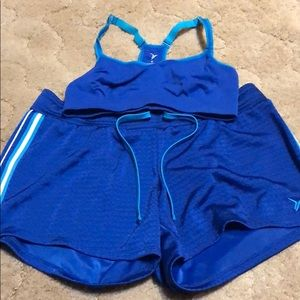 Old Navy bra top and mesh lined shorts